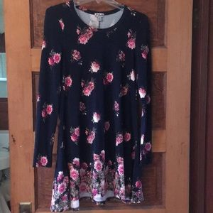Navy/pink floral long sleeve dress